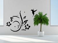Ornament mit Blüten und einem Kolibri Wandtattoo