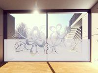 Sichtschutzfolie | Fensterfolie Blumen mit Ranken | Rankenmotiv