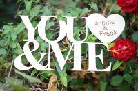 YOU & ME Holzschriftzug mit gravierten Namen