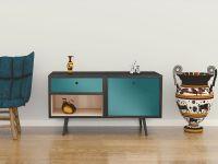 Möbelfolie für Sideboard türkisblau matt