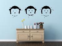 Wandtattoo drei Affen | nichts sehen, nichts sagen, nichts hören