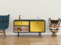 Möbelfolie für Sideboard hellgelb glänzend