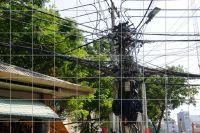 Stromkabel Wirrwarr Fliesenbild