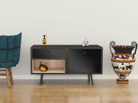 Möbelfolie für Sideboard schwarz glänzend