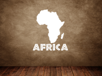 """Kartenumriss Africa mit dem Wort """"Africa"""" Wandtattoo"""