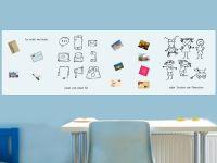 400 x 120 cm | Selbstklebende magnetische Whiteboardfolie | Whiteboard | weiß