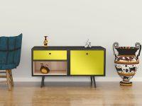 Möbelfolie für Sideboard zitronengelb matt
