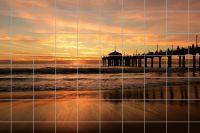 Pier im Sonnenuntergang Fliesenbild